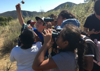 group of young students looking through binoculars