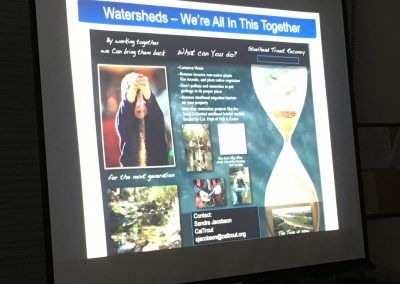 projector screen showing a slide about watersheds