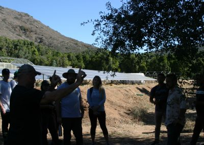 In the shade of a tree, students watch as a man gestures, greenhouses and photovoltaic array in the background