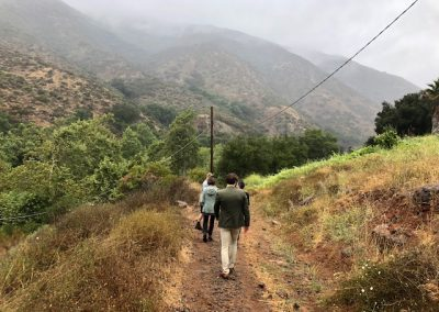 Four people walk on a trail with misty hills in the background