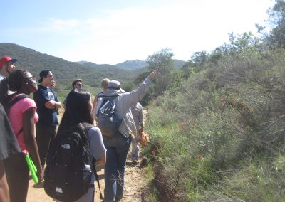 An instructor points at the hillside, directing the attention of a Plant Ecology class