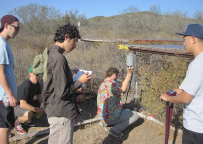 A group of students works near a vegetation plot with various pieces of scientific equipment