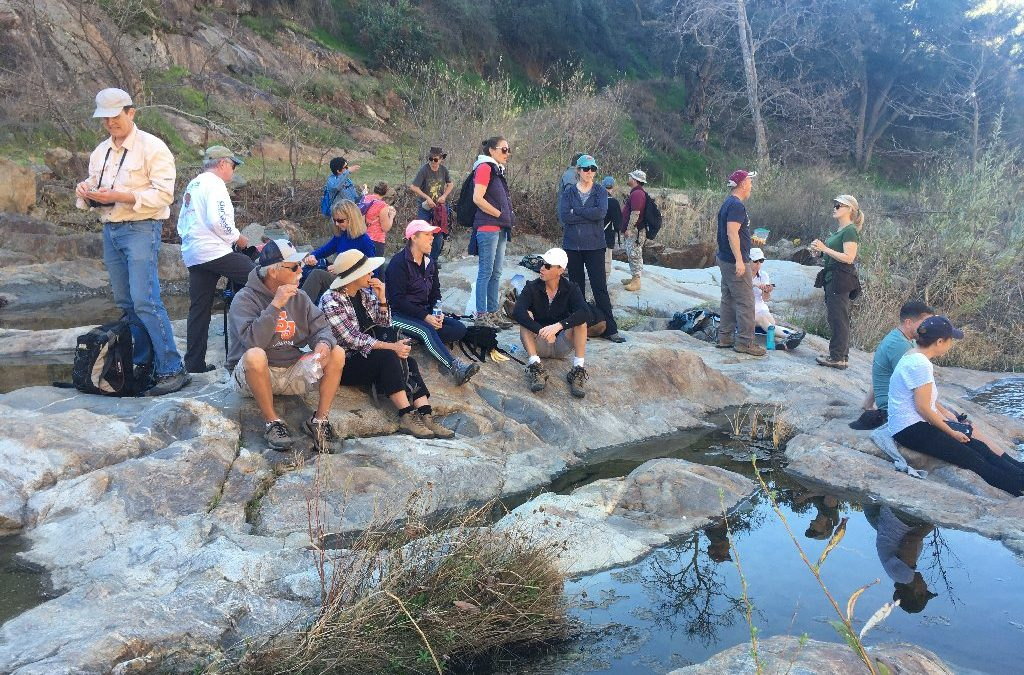 twenty hikers sit on rocks in a stream talking and eating